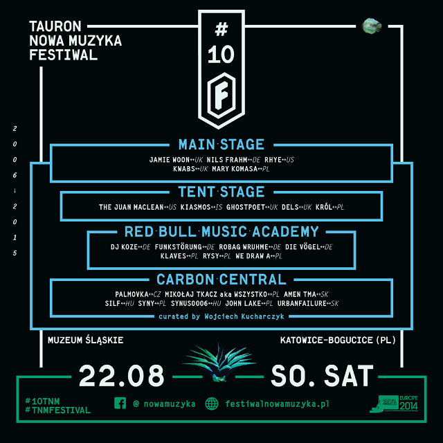 22 August 2015 :: urbanfailure will perform live at CARBON CENTRAL @ 10th Festiwal Tauron Nowa Muzyk