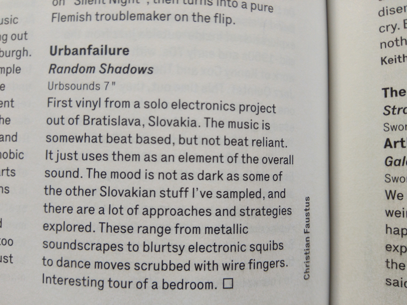 Urbanfailure`s Random Shadows EP reviewed by Wire in recent issue no. 396